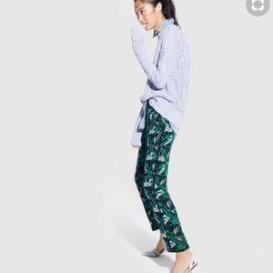 J. Crew tuxedo pants in green retro floral